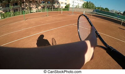 Point of view of two women compete in tennis match