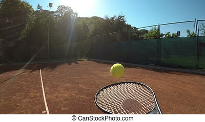 POV of tennis player serving and waiting for ball and...