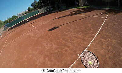 POV point of view of tennis match between two girls