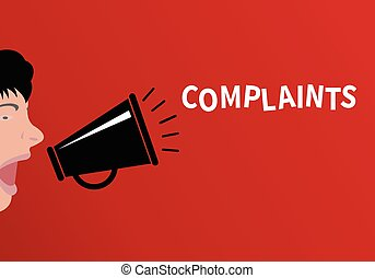 Concept of complaint People shouting through the megaphone...