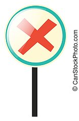 Round sign with red cross illustration