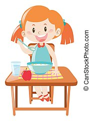 Girl on dining table eating illustration
