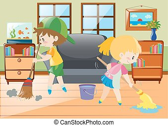 Two kids mopping and sweeping floor illustration