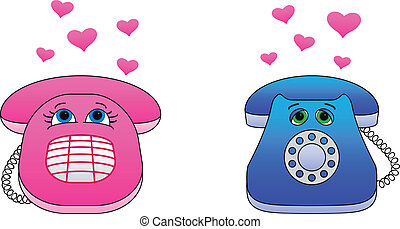 Desktop phones enamoured - Valentines vector: desktop...
