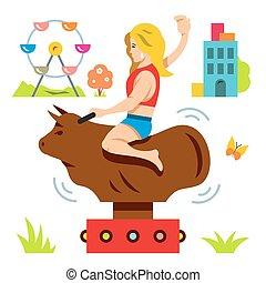Vector Bull Ride. Rodeo simulator. Cartoon Illustration. -...