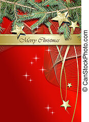 Red Christmas background with stars and fir