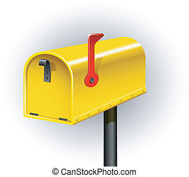 Mailbox - Yellow mailbox over white EPS 8, AI, JPEG