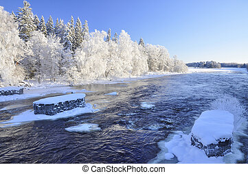 River in winter - A beautiful river in winter