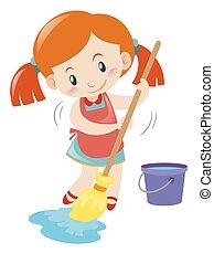 Girl mopping wet floor alone illustration