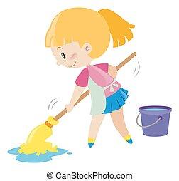 Girl mopping the wet floor illustration