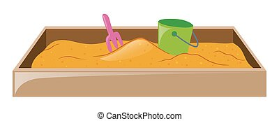 Sandpit with fork and bucket illustration