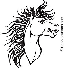 Horse head design - Head of lucky horse showing teeth....