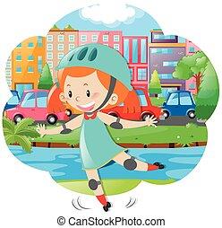 Little girl skating in city park illustration