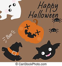Cute Halloween card with spiders, ghost and jack-o'-lantern...