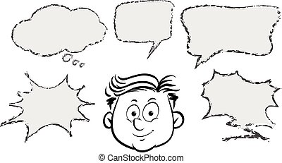 Man with different speech bubble templates illustration
