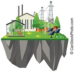 Electric power station with greenhouse illustration