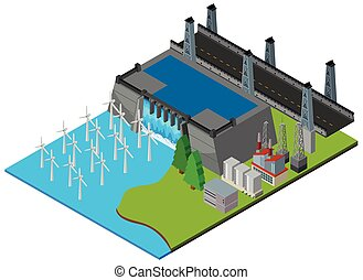 Power station by the dam illustration