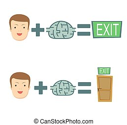 brains help to find a way out. Stock flat vector...
