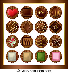 Chocolate sets. Illustration vector.