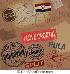 Croatia travel stamps on retro background with old post...