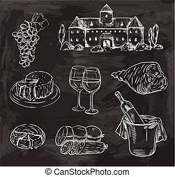winemaking. set of vector sketches on black background