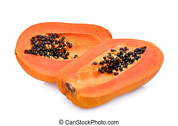half of ripe papaya fruit with seeds isolated on white...