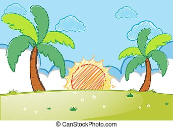 Sunset scene with coconut trees and field