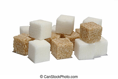 sugar - brown and white sugar isolated on a background