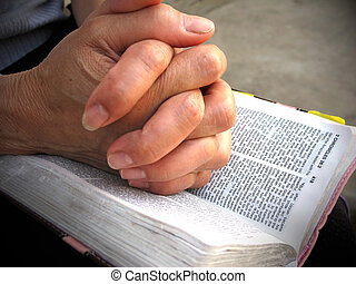 Praying hands bible - Woman praying over holy bible...