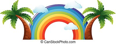 Colorful rainbow with two coconut trees