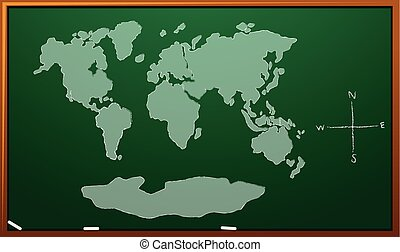 Worldmap on green board illustration