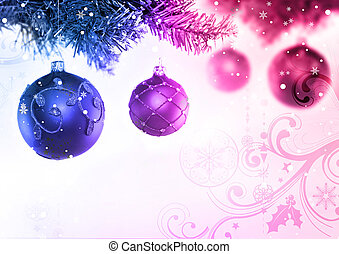 Christmas Tree and Baubles - Colourful christmas baubles...