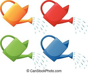 Watering cans in four colors illustration