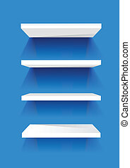 White Book Shelves on a blue painted wall. Vector...