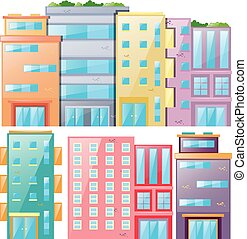 City skyscrapers in a row illustration