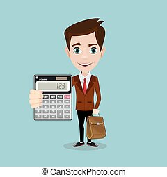Cartoon businessman or accountant is showing calculator -...