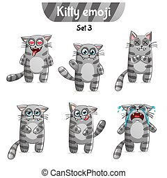 Vector set of tabby cat characters. Set 3 - Set kit...
