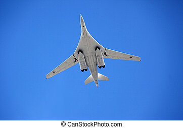 Strategic bomber-rocket carrier TU160 in air