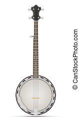 banjo, ilustración, acción