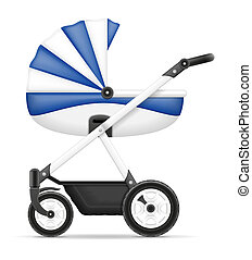 baby carriage stock illustration isolated on white...