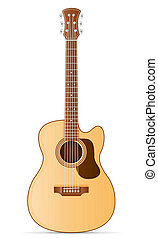 acoustic guitar stock illustration isolated on white...