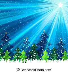 Fur-trees under a snowfall at night EPS 8 vector file...