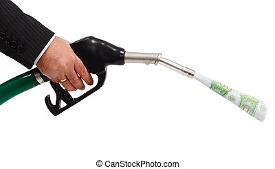 Money pouring from gas nozzle - Hand holding gas nozzle,...