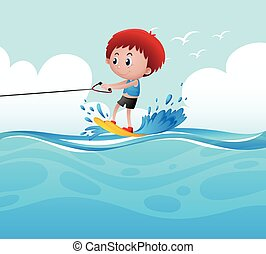 Boy playing water ski in the ocean illustration