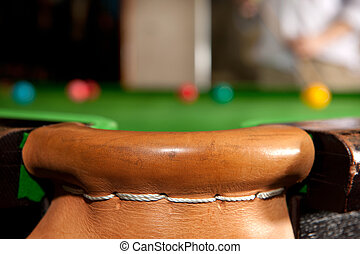 Snooker pocket - The leather stiched corner pocket of a...