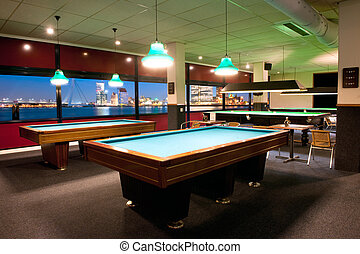 Pool room - Large, old fashioned pool room with a...