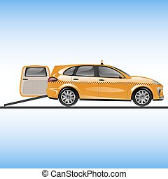 Taxi or car for people on wheelchair. Vector illustration