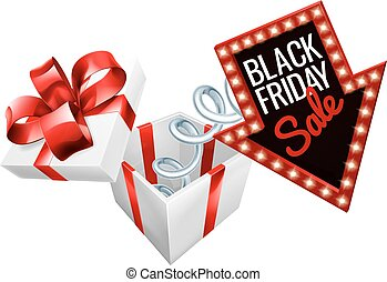 Black Friday Box Spring Sale Sign - A jack in the box Black...