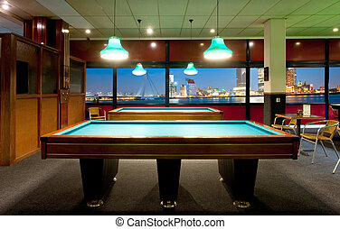 Retro pool room with a view - Retro pool room with a...