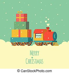merry christmas greeting card, train gift delivery,...